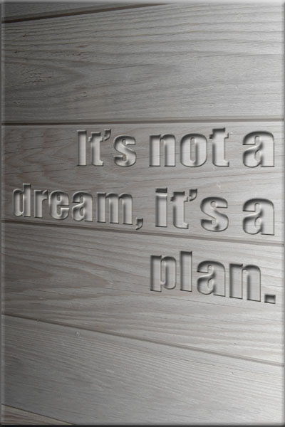 Not a dream, a plan. Quote