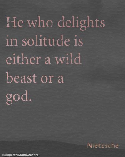 Delights in Solitude Quote. Nietzsche
